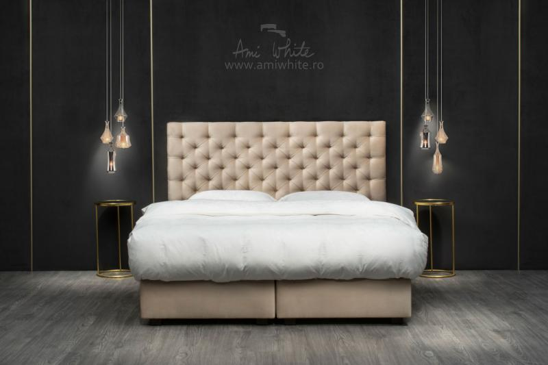 Pat tapițat BoxSpring ROYAL CREAM